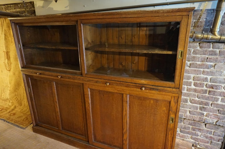 Arts and Crafts Rare Arts & Crafts Wide Quarter Sawn Oak Barrister's Cabinet with Jotters For Sale