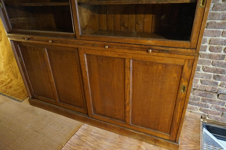 American Rare Arts & Crafts Wide Quarter Sawn Oak Barrister's Cabinet with Jotters For Sale
