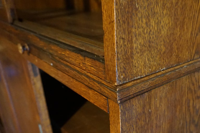 Joinery Rare Arts & Crafts Wide Quarter Sawn Oak Barrister's Cabinet with Jotters For Sale