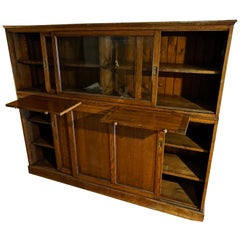 Rare Arts & Crafts Wide Quarter Sawn Oak Barrister's Cabinet with Jotters