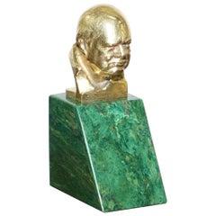 Rare Asprey & Co Oscar Nemon 1967 18ct Gold Minature Bust of Winston Churchill