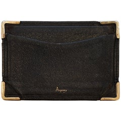 Rare Asprey London, 1930s 9-carat Gold Black Leather Credit Business Card Case