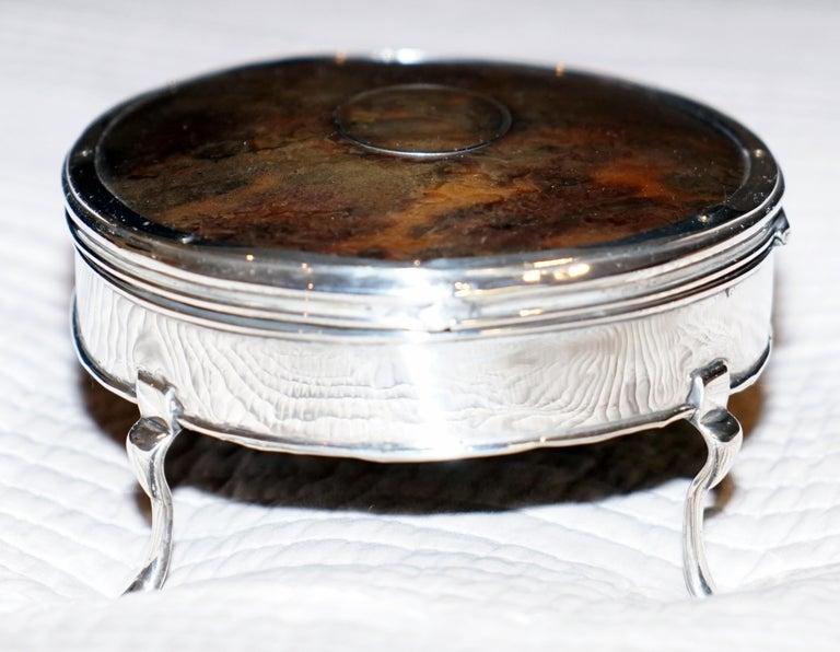 Rare Asprey London Sterling Silver 1917 Jewelry Box Charles & Richard Comyns For Sale 5