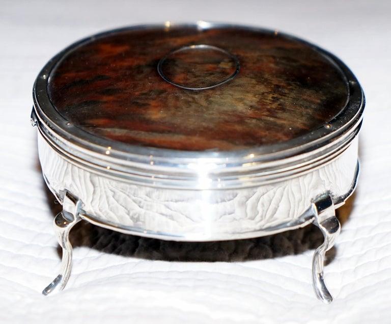 Rare Asprey London Sterling Silver 1917 Jewelry Box Charles & Richard Comyns For Sale 1