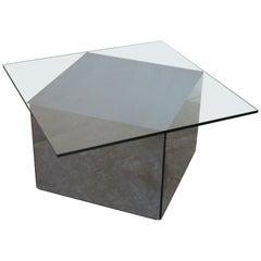 """Rare Asymmetrical Coffee Table """"Blok"""" by Nanda Vigo for Acerbis, 1970s"""