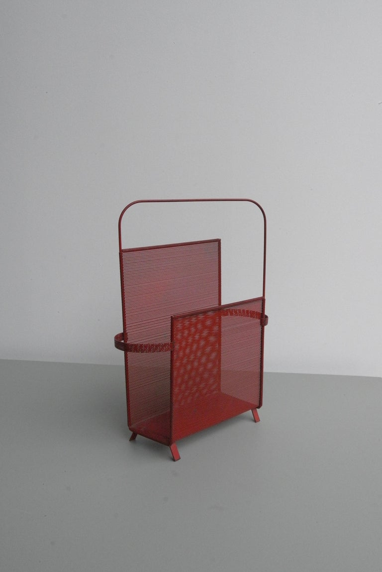 Rare Asymmetrical Mathieu Matégot Magazine Holder in Red Metal, circa 1950 In Good Condition For Sale In The Hague, NL