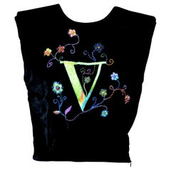 Rare Atelier Versace Black Velvet V Embellished Crop Top  MINT