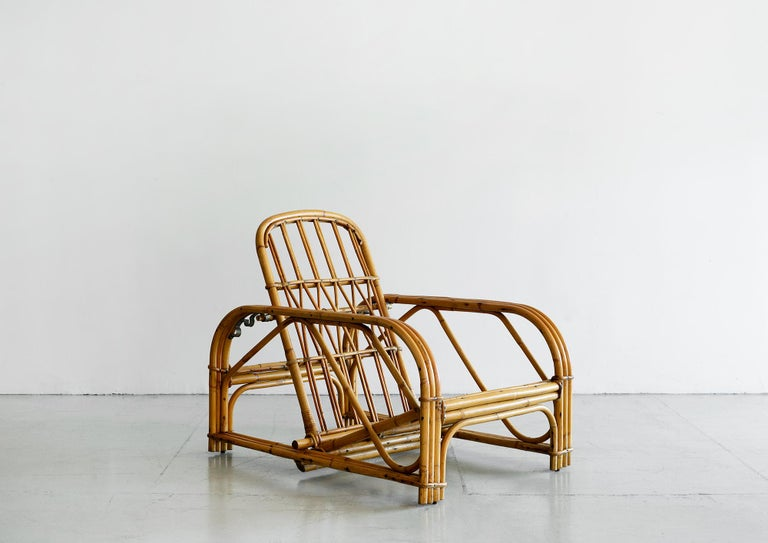Mid-Century Modern Rare Audoux Minet Rattan Lounge Chairs For Sale