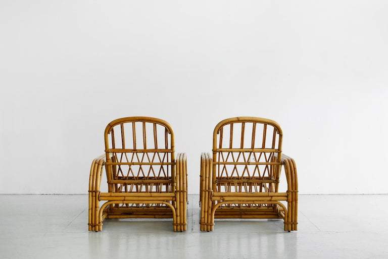 Rare Audoux Minet Rattan Lounge Chairs In Good Condition In Los Angeles, CA