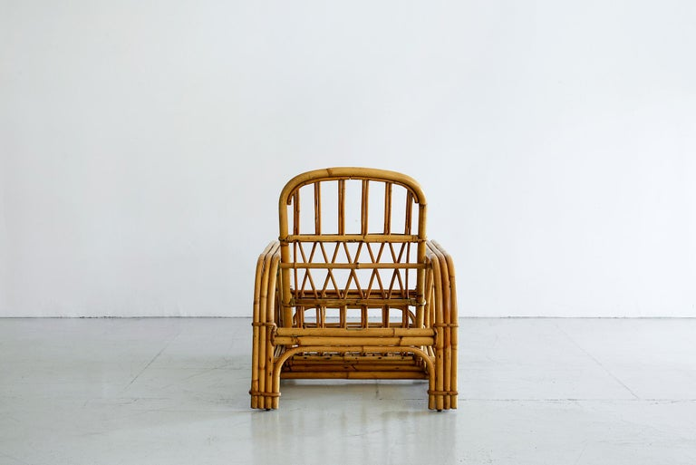 20th Century Rare Audoux Minet Rattan Lounge Chairs For Sale