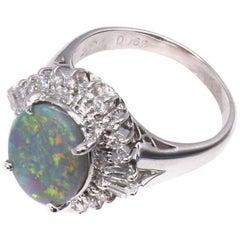Rare Australian Black Opal Diamond Platinum Ring