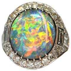 Rare Austrian Black Opal and Diamond Ring