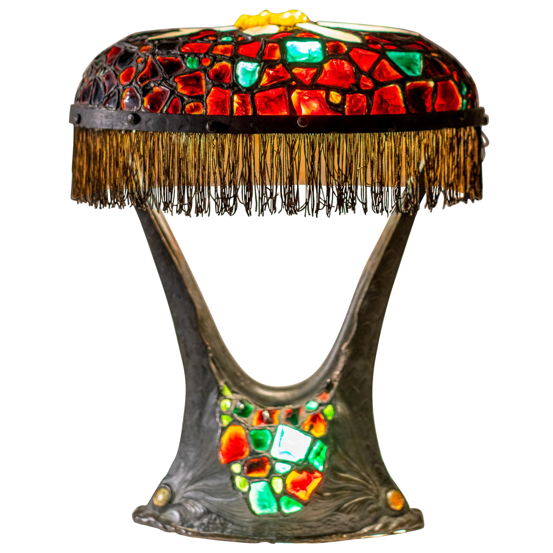 Rare Austrian Colorful Art Nouveau Bronze and Glass Chunk Jewel Table Lamp