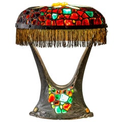 Rare Austrian Colorful Art Nouveau Bronze and Glass Chunk Jewel Table Lamp