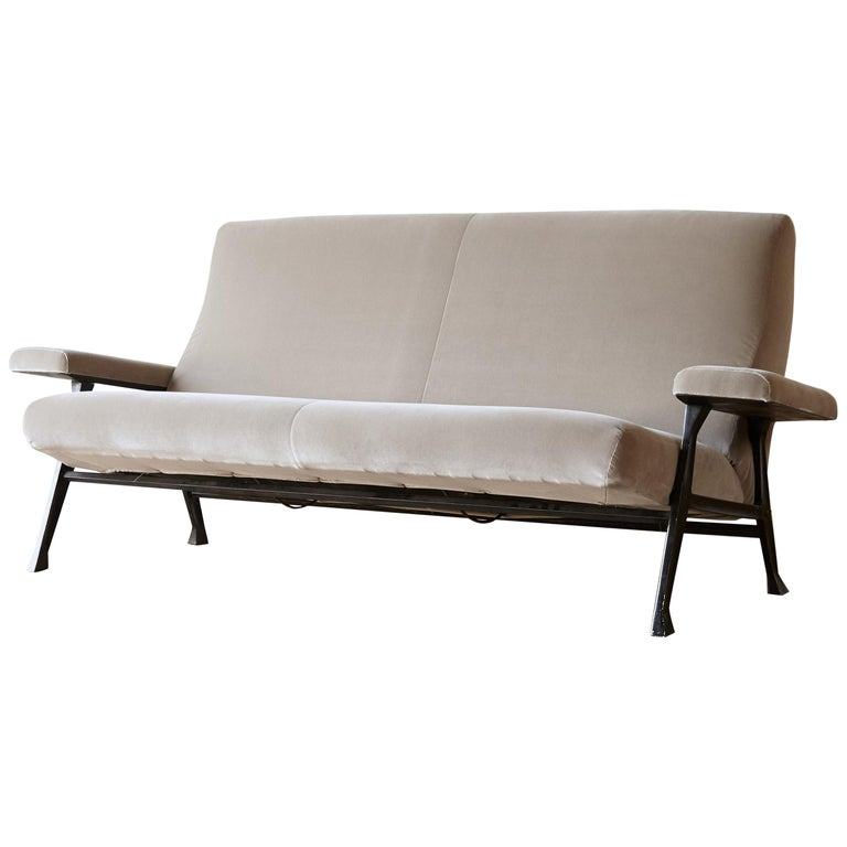 Rare Authentic 1950s Roberto Menghi Sofa, Arflex, Italy, Newly Upholstered For Sale