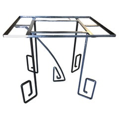 Rare Avant-Garde Art Deco Scrolling Iron Dining Patio Table