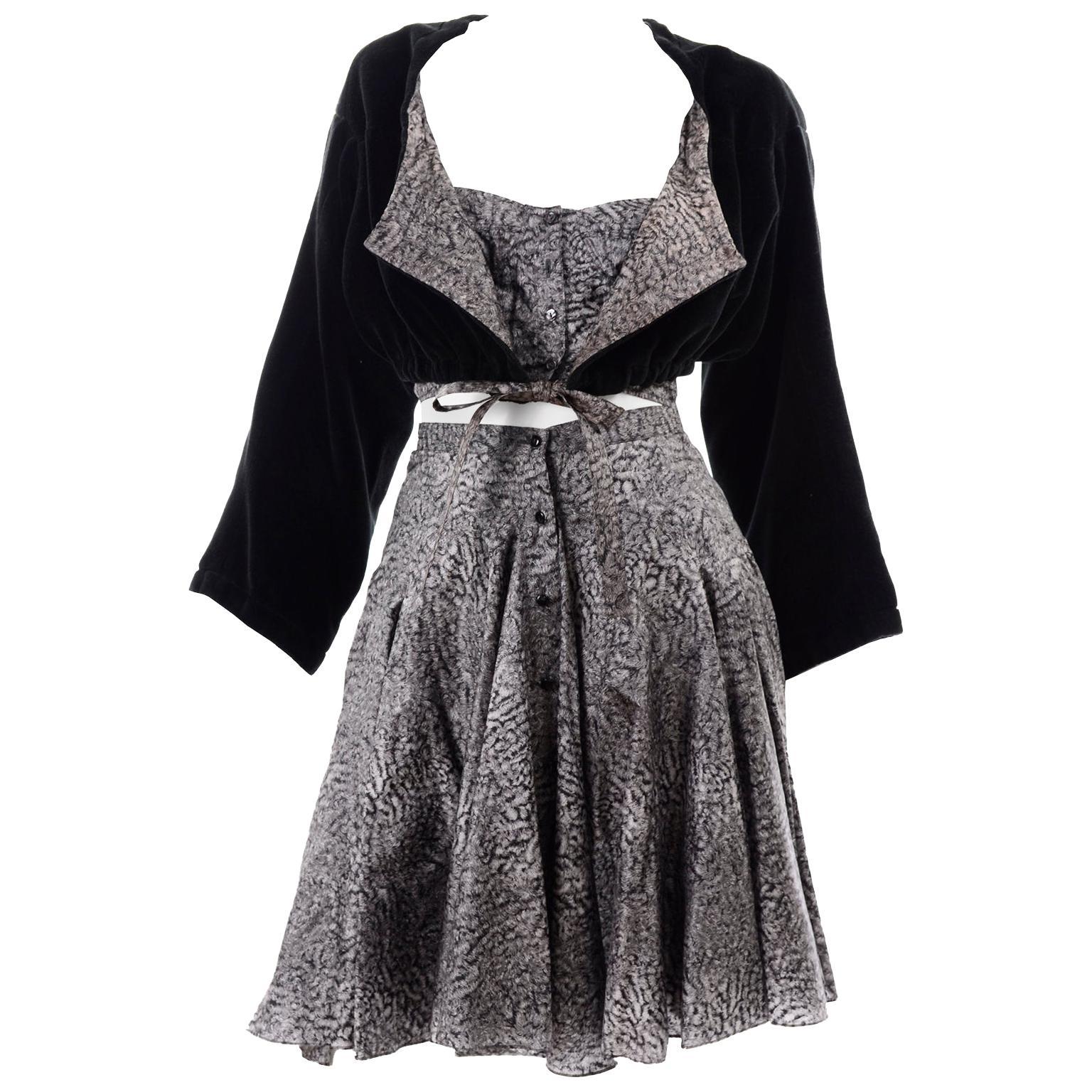 Rare Azzedine Alaia 4 Pc Shorts Skirt Bustier Jacket Christophe Von Weyhe Print