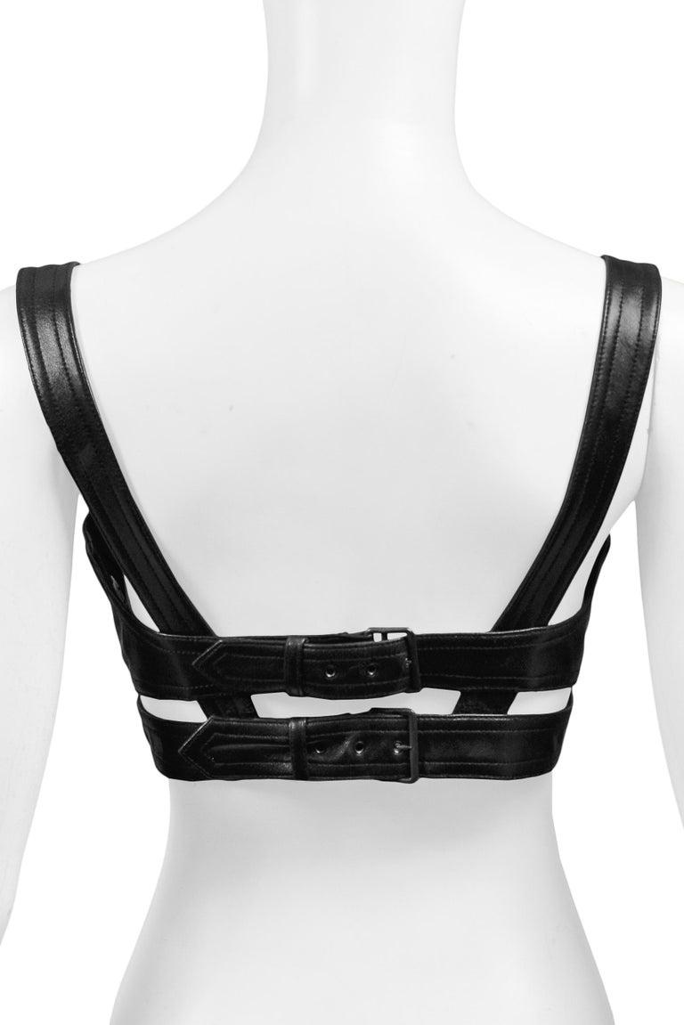 Rare Azzedine Alaia Black Leather Bra Top w Double Buckle Back | 1990s For Sale 1