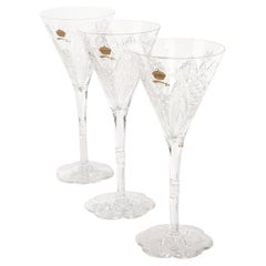 Rare Baccarat Custom Sultan of Brunei Suite of 3 Handcut Crystal Wine Glasses