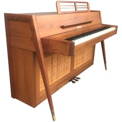 Rare Baldwin Acrosonic Danish Modern Style Spinet Piano, Walnut and Cane