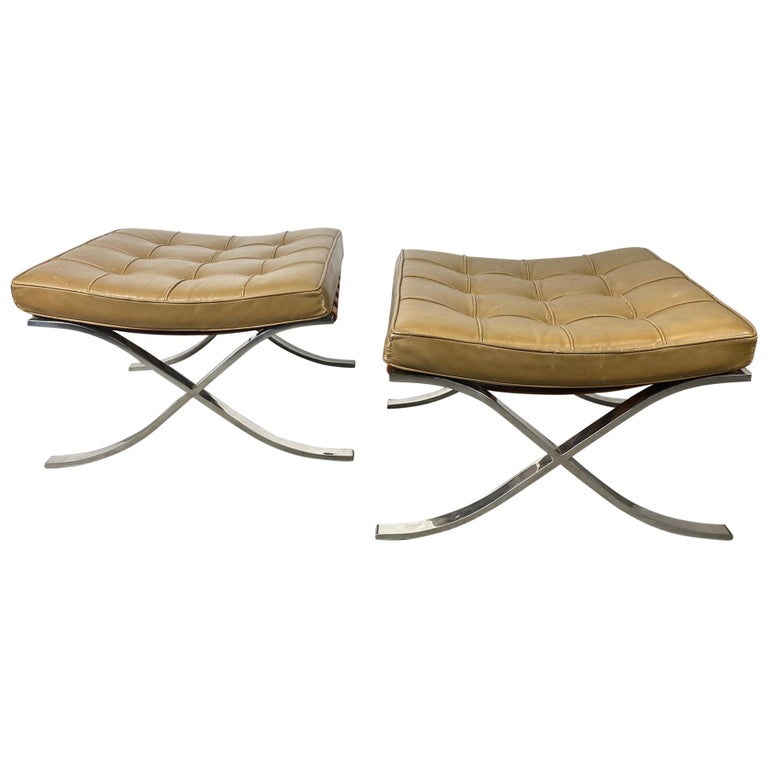 Rare Barcelona Ottomans by Mies van der Rohe for G.R. Griffith, Original Label For Sale