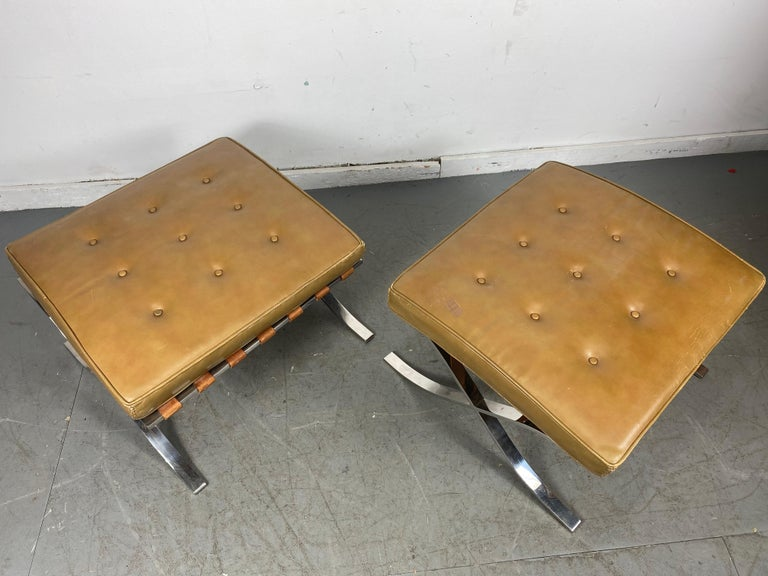 Rare Barcelona Ottomans by Mies van der Rohe for G.R. Griffith, Original Label For Sale 6