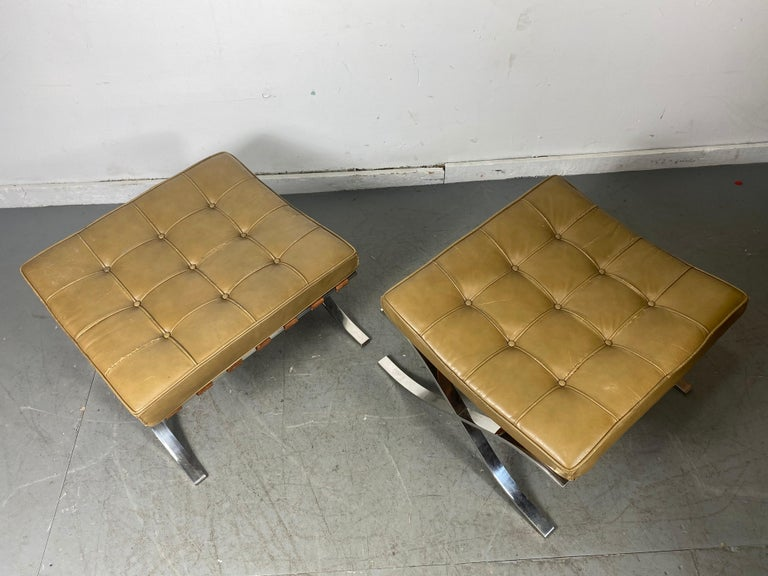 Mid-20th Century Rare Barcelona Ottomans by Mies van der Rohe for G.R. Griffith, Original Label For Sale