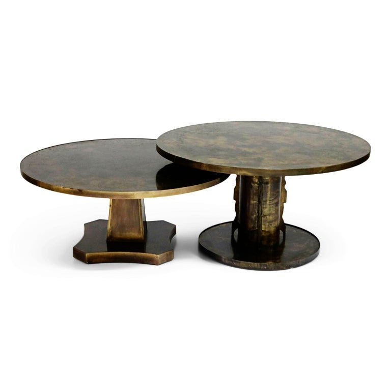 Rare Base & Acid Etched Bronze Classical Table by Philip & Kelvin LaVerne, 1960s For Sale 12
