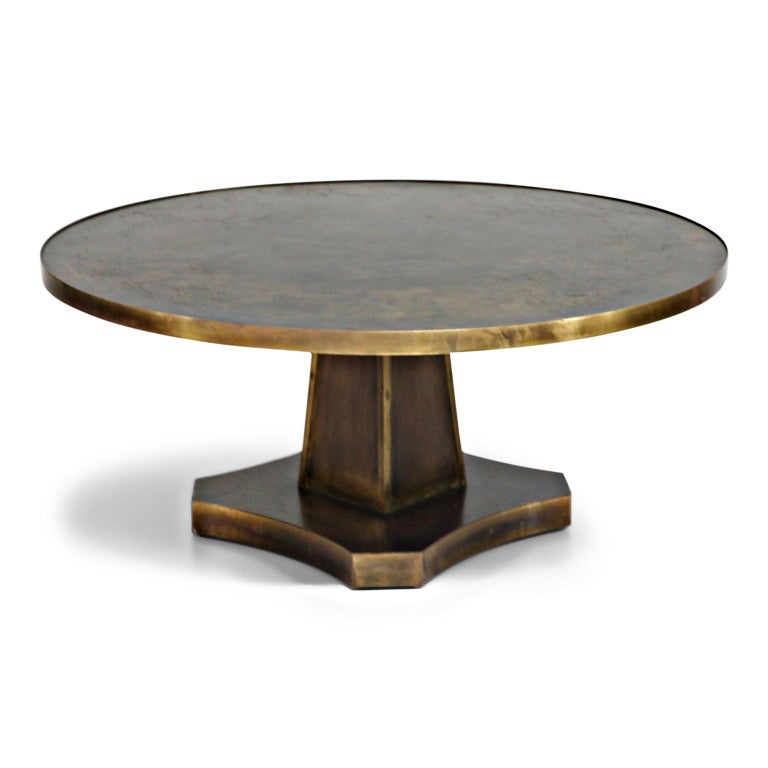 Mid-Century Modern Rare Base & Acid Etched Bronze Classical Table by Philip & Kelvin LaVerne, 1960s For Sale