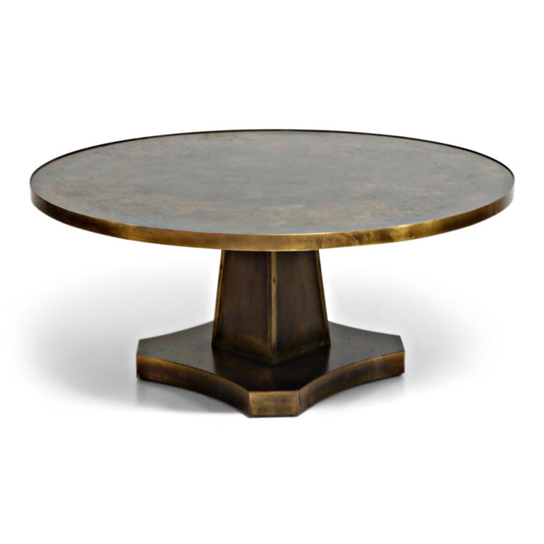 American Rare Base & Acid Etched Bronze Classical Table by Philip & Kelvin LaVerne, 1960s For Sale