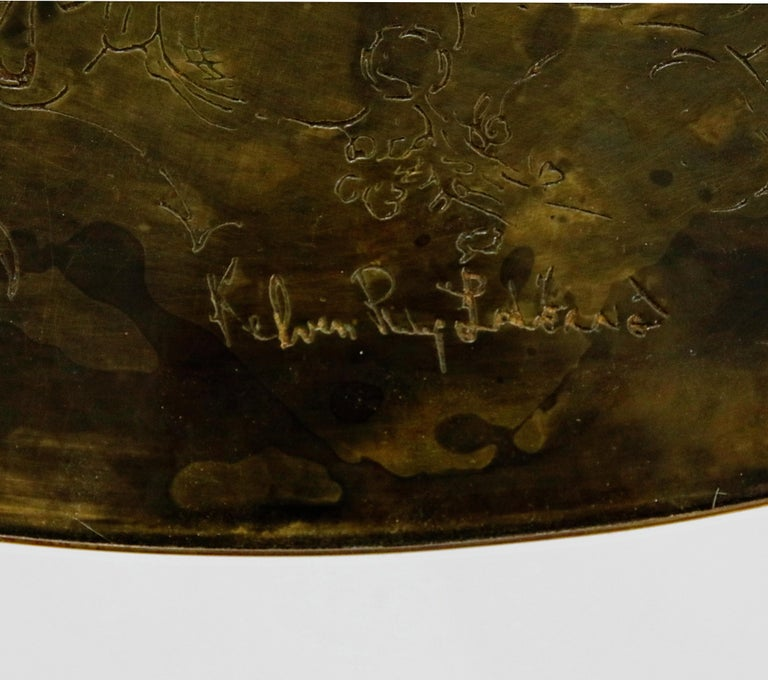 Rare Base & Acid Etched Bronze Classical Table by Philip & Kelvin LaVerne, 1960s For Sale 2