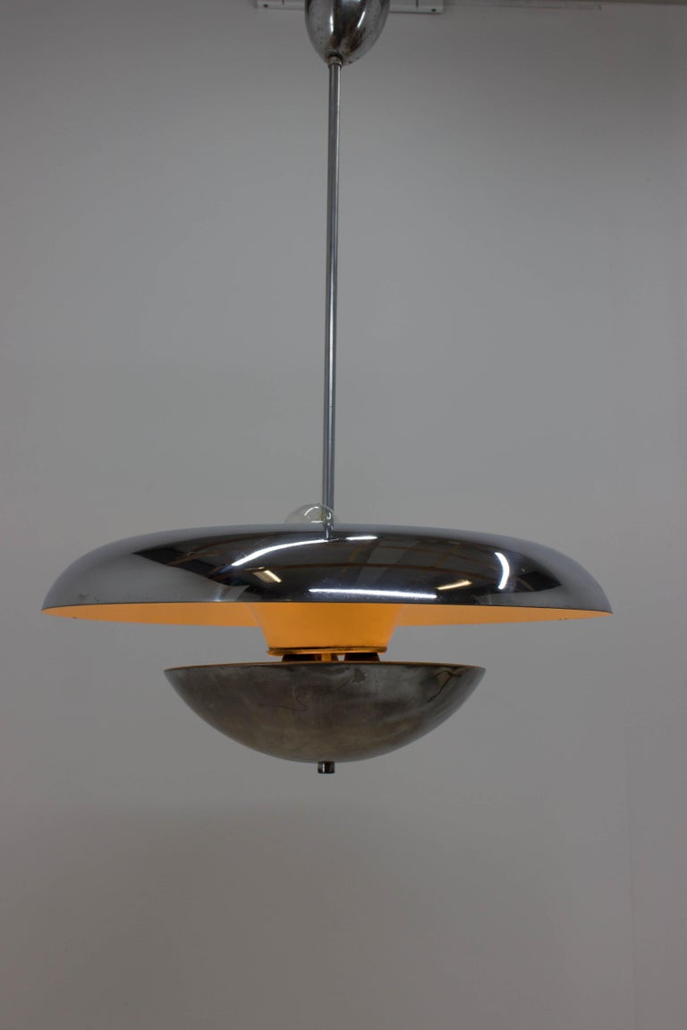 Czech Rare Bauhaus Chandelier by Frantisek Anyz for Napako, 1930s For Sale