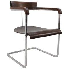 Rare Bauhaus Tubular Steel Chrome Chair H-128 by J. Halabala, 1930s