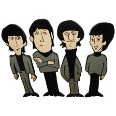 Rare Beatles Wood Standee's Cartoon Figures John George Paul Ringo