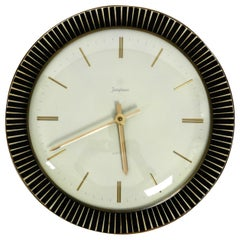 Rare Beautiful 1960s Junghans Electric Wall Clock Made of Ceramic and Brass