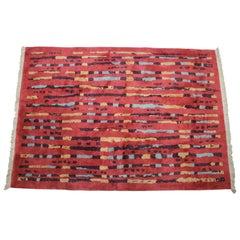 Rare Beautiful Abstract Design Wool Carpet / Rug, 1940s