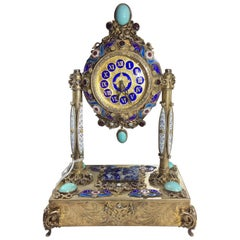 Rare 19th Century Silver Austrian Musical Clock with Enamel and Fine Stones