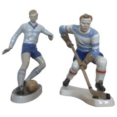 Rare Beautiful Design Porcelain Figurines, Football and Hockey Player, 1940s