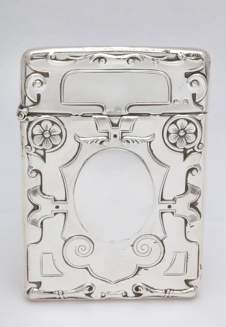 Rare, beautiful, sterling silver Arts & Crafts calling card/business card case with hinged lid, Birmingham, England, 1907, William Hastler Britton and Edward Gould (doing business as Britton, Gould and Company) - makers. Lovely Arts & Crafts design.