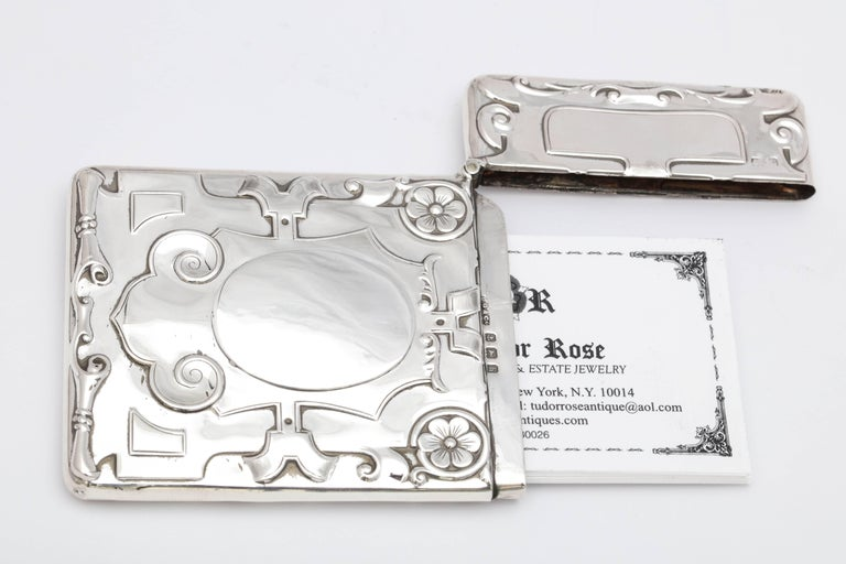 Arts and Crafts Rare Beautiful Sterling Silver Arts & Crafts Calling Card/Business Card Case For Sale