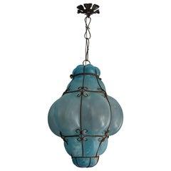 Rare & Beautiful Vintage Mouthblown Azure Blue Glass Viennese Pendant Light 1950