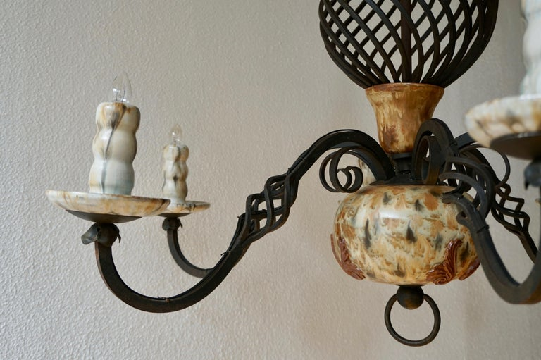 Rare Belgium Art Deco Ceramic and Wrought Iron Chandelier by A Dubois,Belgium For Sale 4