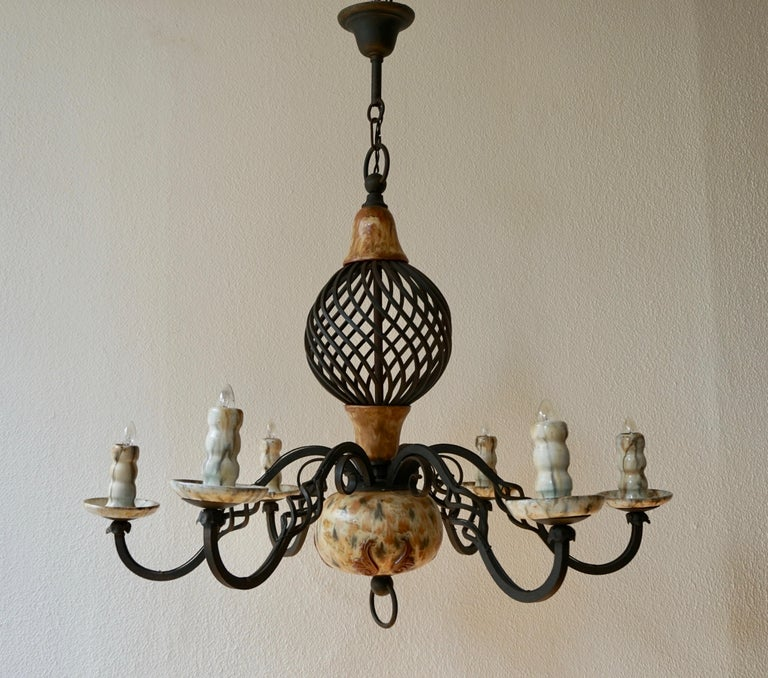 Hollywood Regency Rare Belgium Art Deco Ceramic and Wrought Iron Chandelier by A Dubois,Belgium For Sale