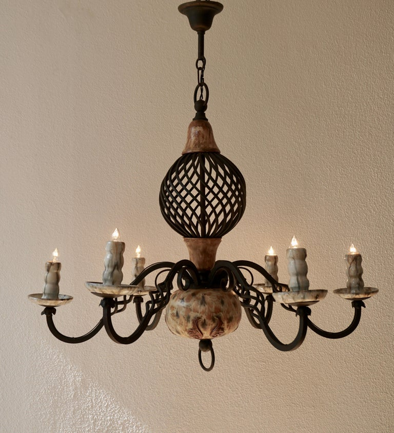 Belgian Rare Belgium Art Deco Ceramic and Wrought Iron Chandelier by A Dubois,Belgium For Sale