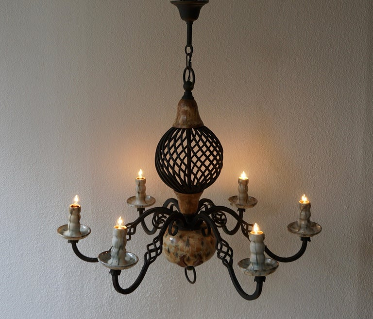 Rare Belgium Art Deco Ceramic and Wrought Iron Chandelier by A Dubois,Belgium In Good Condition For Sale In Antwerp, BE