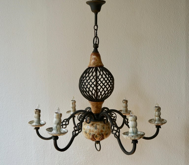 Mid-20th Century Rare Belgium Art Deco Ceramic and Wrought Iron Chandelier by A Dubois,Belgium For Sale