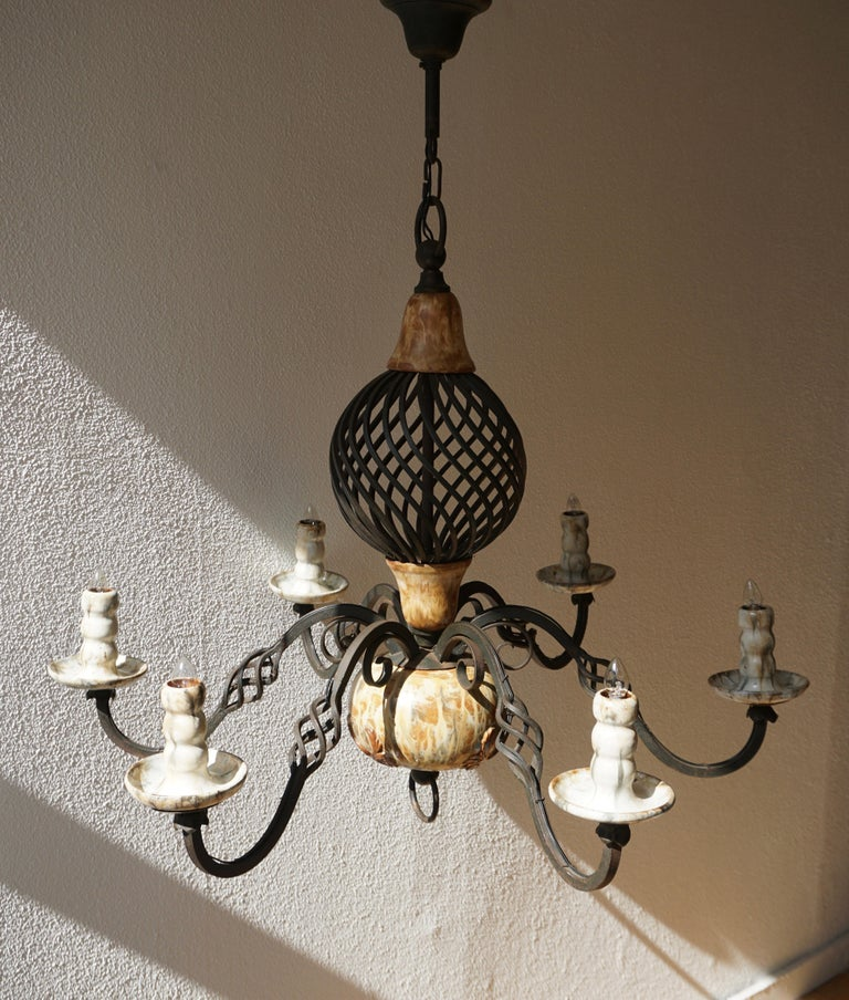 Rare Belgium Art Deco Ceramic and Wrought Iron Chandelier by A Dubois,Belgium For Sale 1