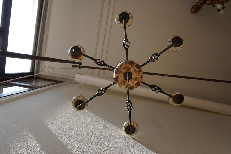 Rare Belgium Art Deco Ceramic and Wrought Iron Chandelier by A Dubois,Belgium For Sale 2