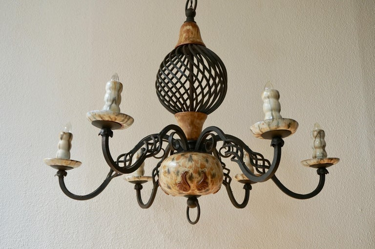 Rare Belgium Art Deco Ceramic and Wrought Iron Chandelier by A Dubois,Belgium For Sale 3