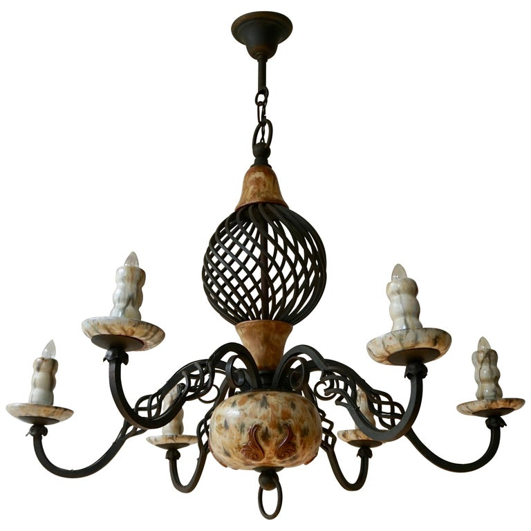 Rare Belgium Art Deco Ceramic and Wrought Iron Chandelier by A Dubois,Belgium For Sale